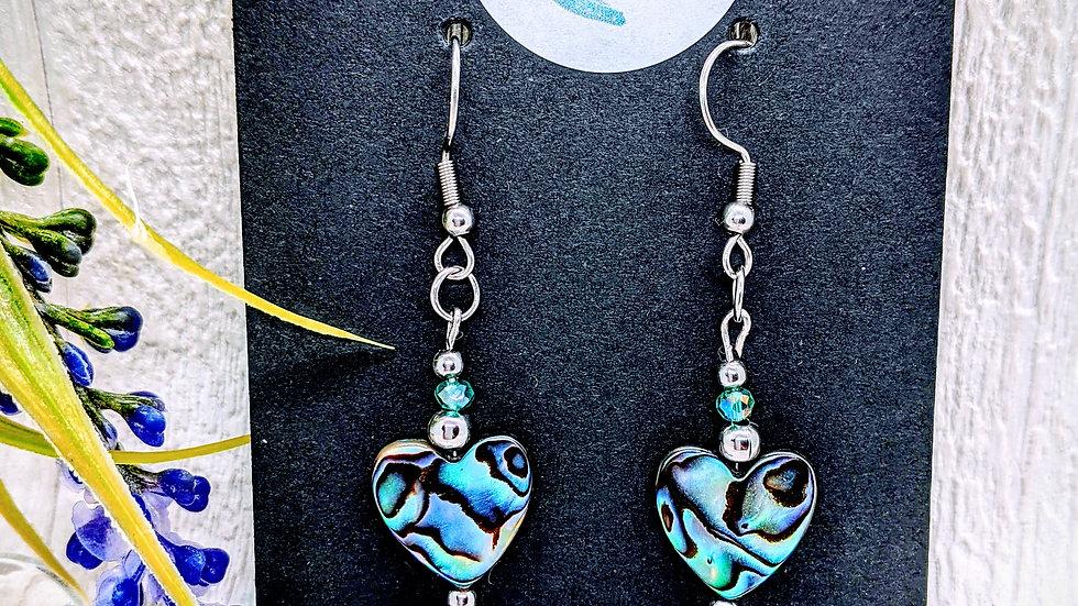 Beautiful handmade Abalone/Paua shell heart shaped drop earrings.