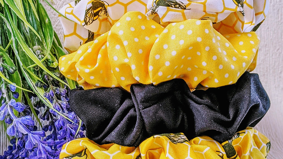 Set of 4 handmade bumble bee & patterned cotton hair scrunchies.