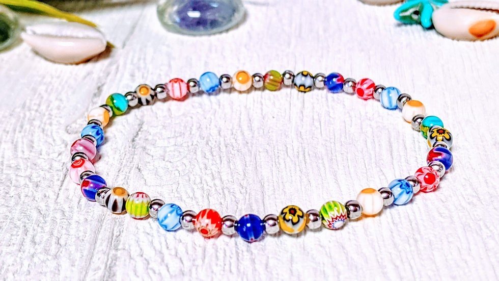 Georgeous Millefiori beaded stretch bracelet.