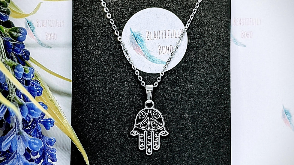 Stainless steel necklace with Hamsa Hand pendant