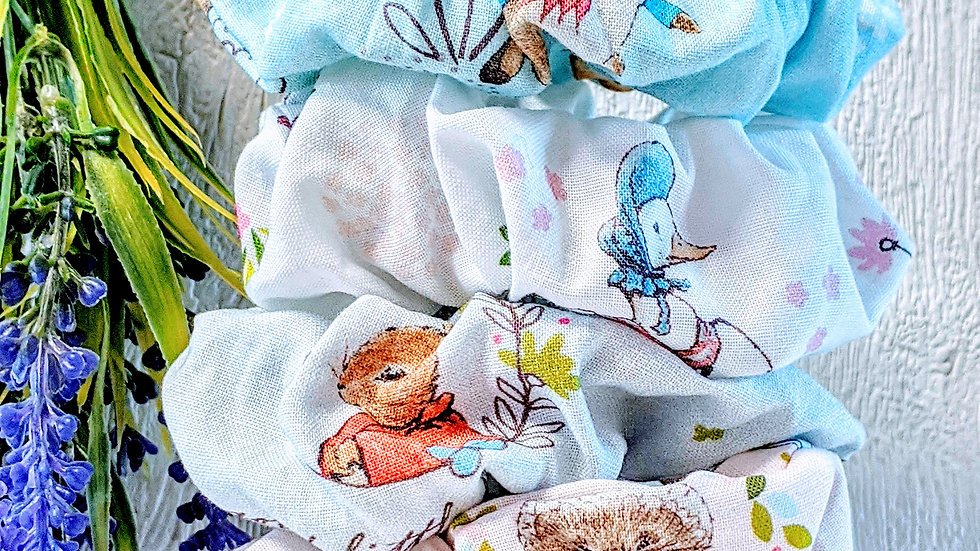 Set of 4 handmade Beatrix Potter's Peter Rabbit & Friends cotton hair scrunchies