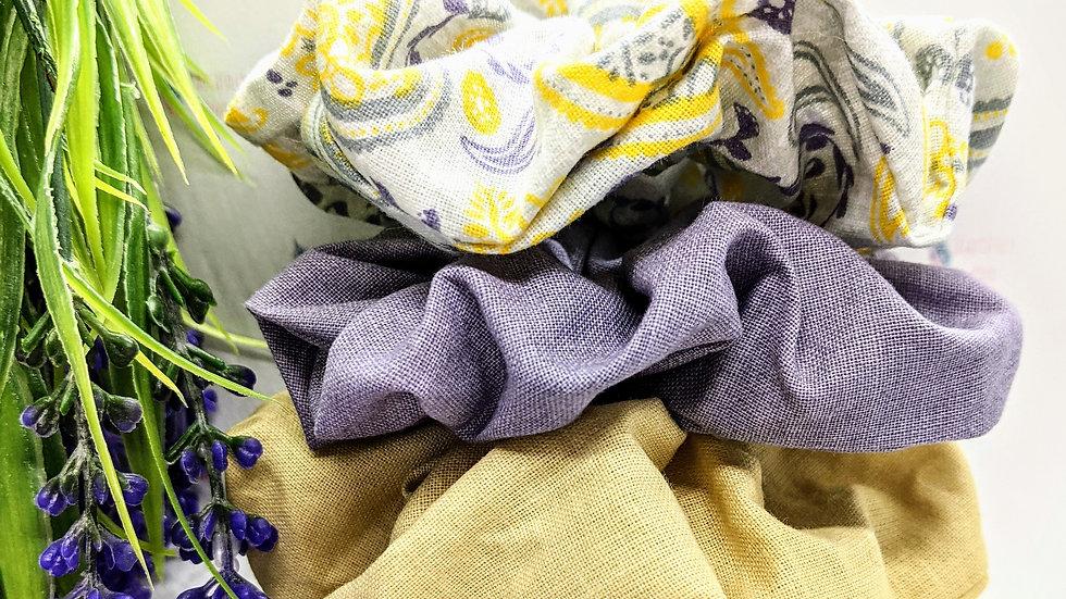 Beautiful set of 4 handmade Paisley style print patterned hair scrunchies