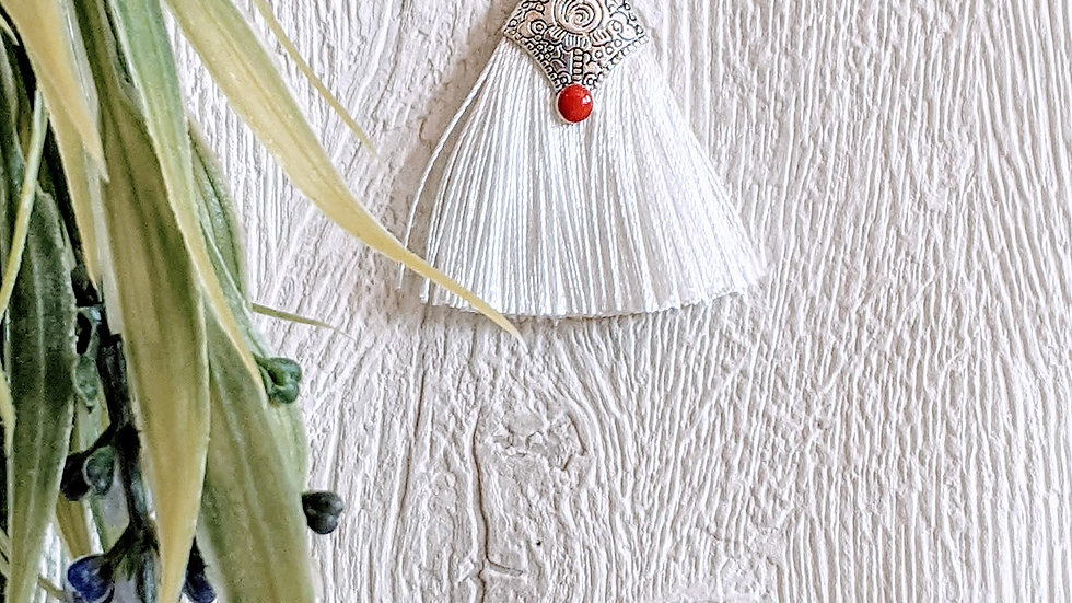 Stainless steel necklace with cotton tassel  pendant