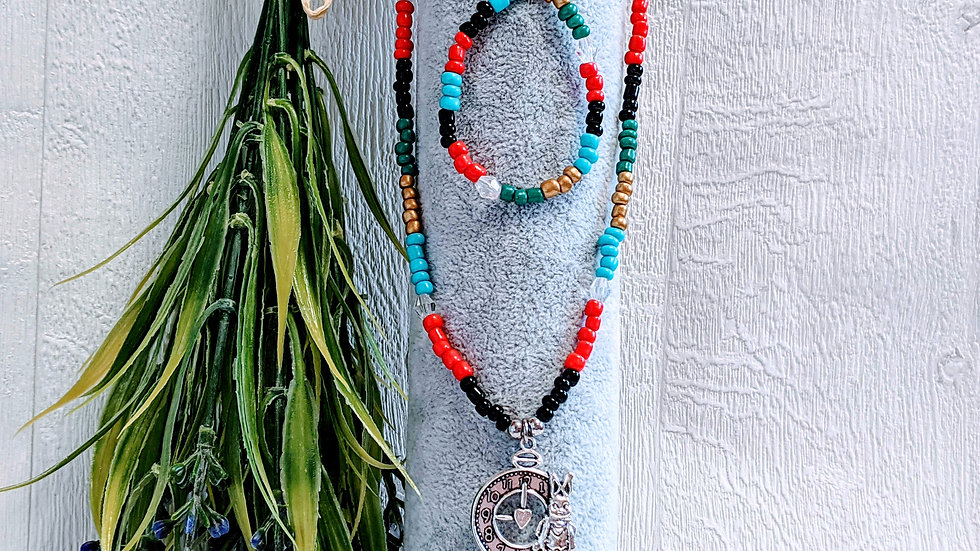 Pretty seed beaded necklace & bracelet set with Alice in Wonderland themed clock