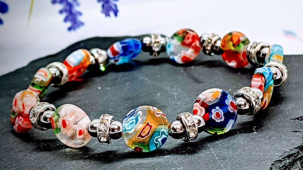 Flat round Millefiori glass beaded stretch bracelet