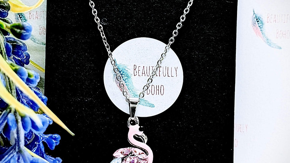 Stainless steel necklace with Flamingo pendant