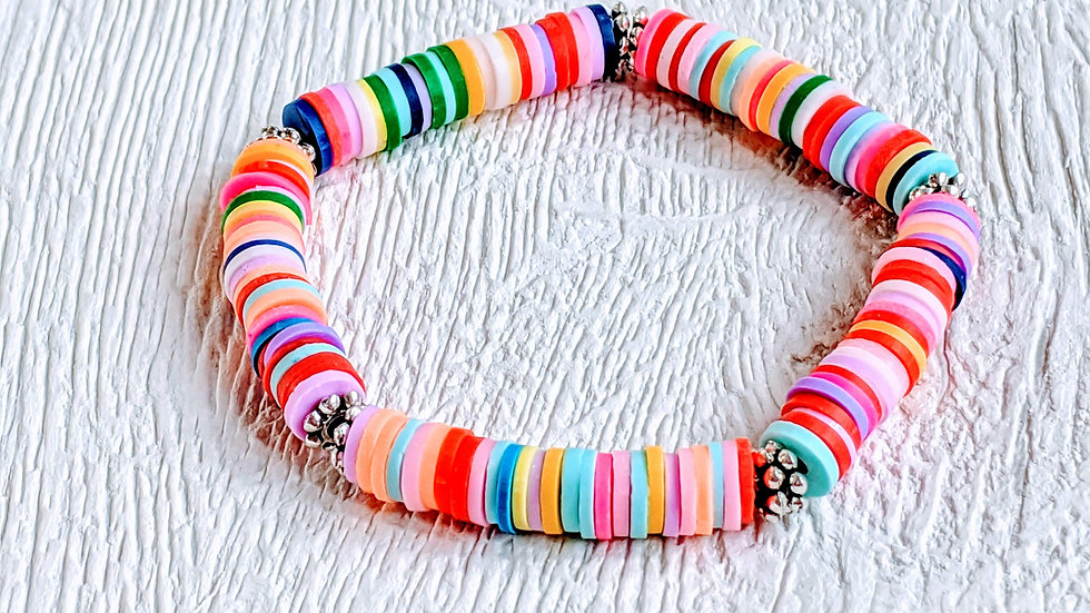 Rainbow clay disc beaded stretch bracelet with daisy spacers