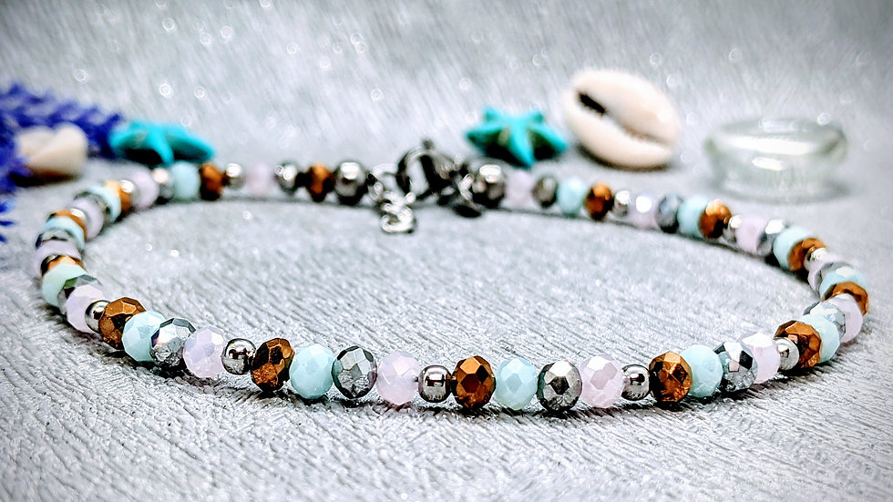 Handmade gold, powder blue, baby pink & silver glass beaded anklet.