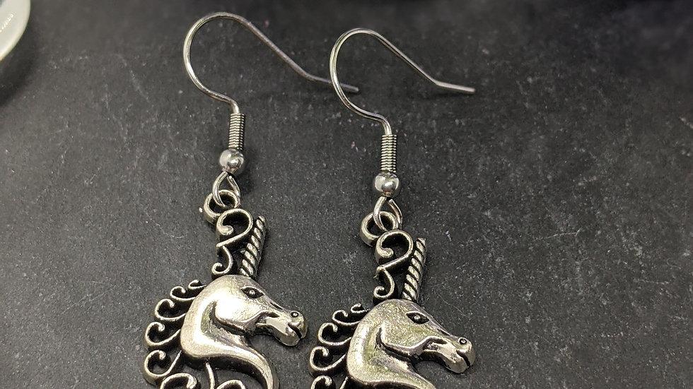 Pretty Tibetan Style Silver unicorn head drop earrings.