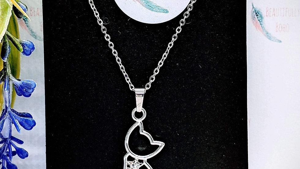 Stainless steel necklace with rhinestone cat pendant