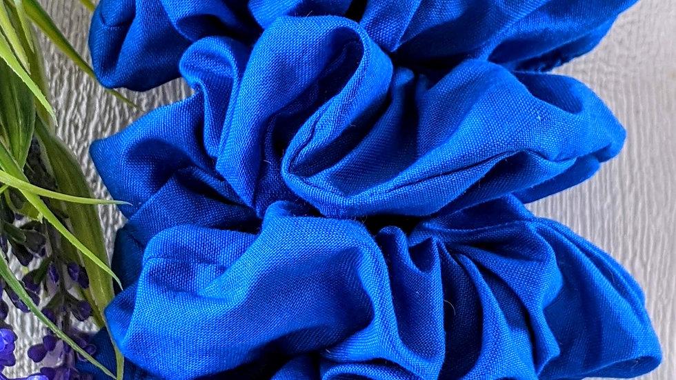 Set of 4 handmade Back to School royal blue cotton hair scrunchies