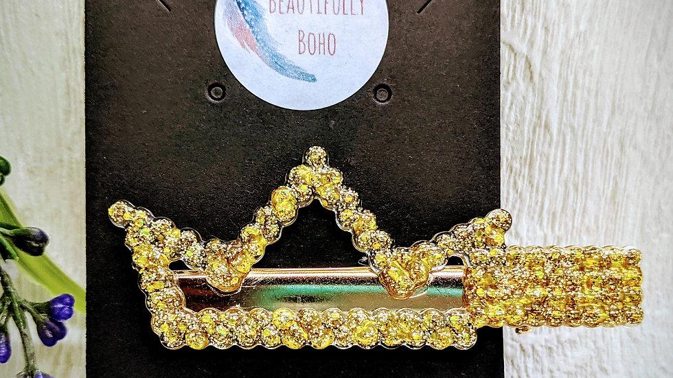 Various coloured glitter resin crown hair clip