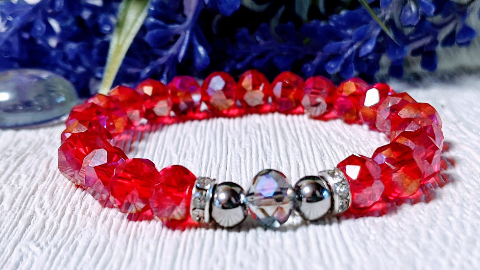 Beautiful red electroplated beaded stretch bracelet.