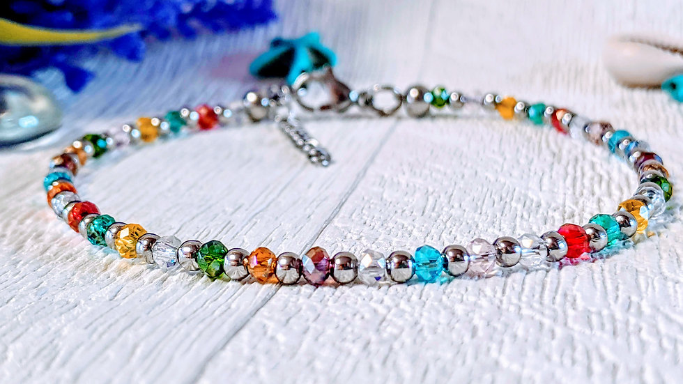 Multicoloured electroplated glass beaded anklet.