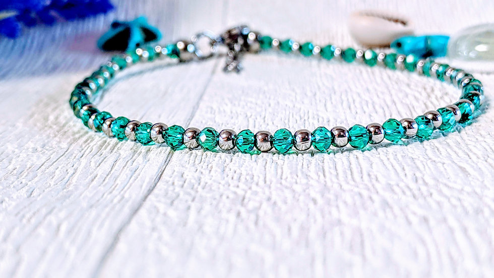 Turquoise electroplated glass & stainless steel beaded anklet