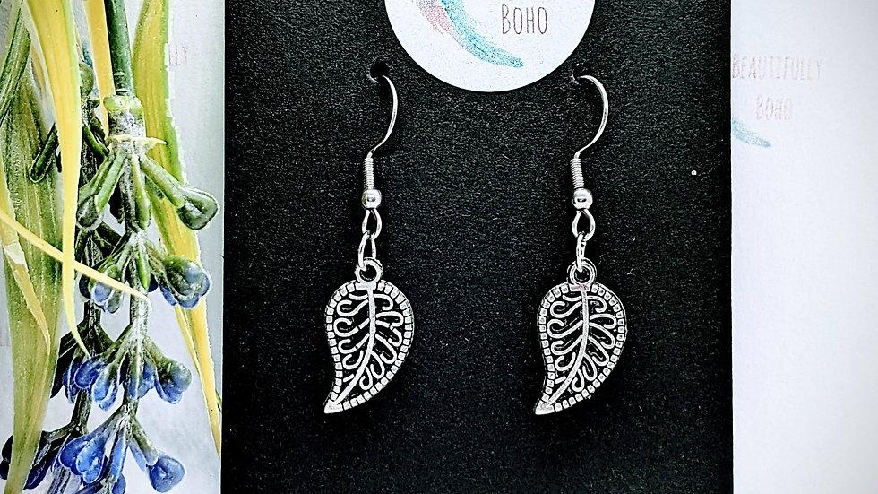 Pretty Tibetan Style Silver leaf drop earrings