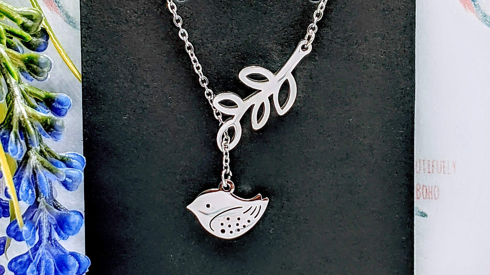 Stainless steel necklace with stainless steel Bird on a Branch pendant