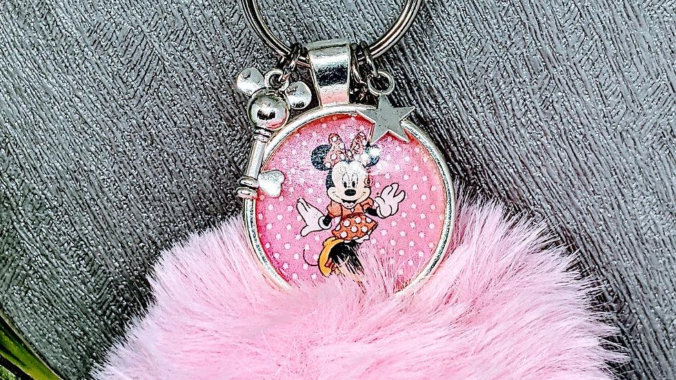 Pretty Minnie Mouse pink pom pom keychain.
