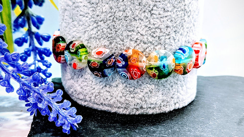 Flat round Millefiori glass beaded stretch bracelet