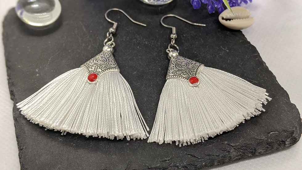 Gorgeous white fabric tassel drop earrings.