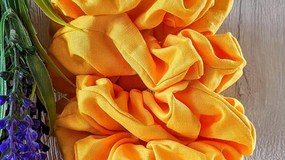 Set of 4 handmade Back to School yellow cotton hair scrunchies