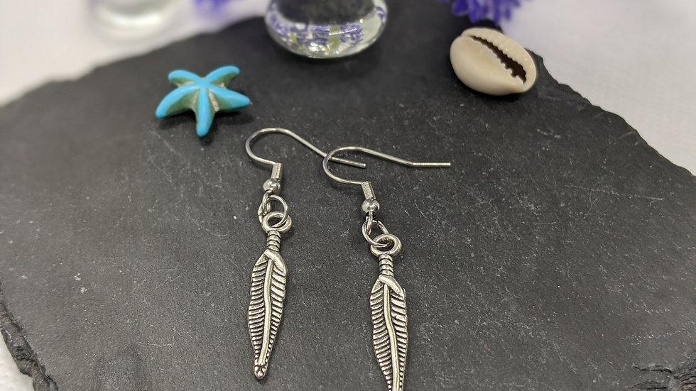 Pretty Tibetan Style Silver feather drop earrings.