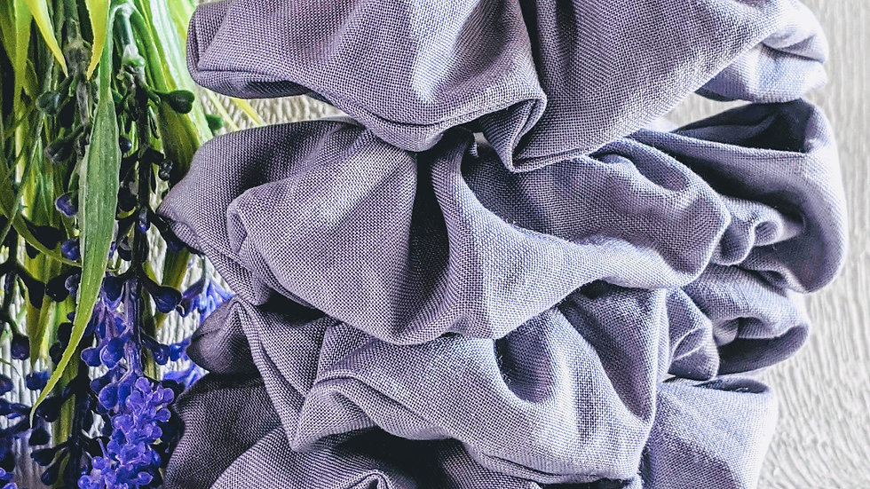 Set of 4 handmade Back to School light grey cotton hair scrunchies.