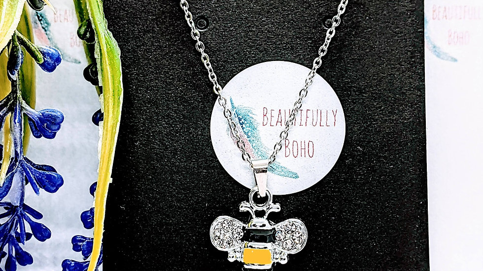 Stainless steel necklace with rhinestone bee pendant