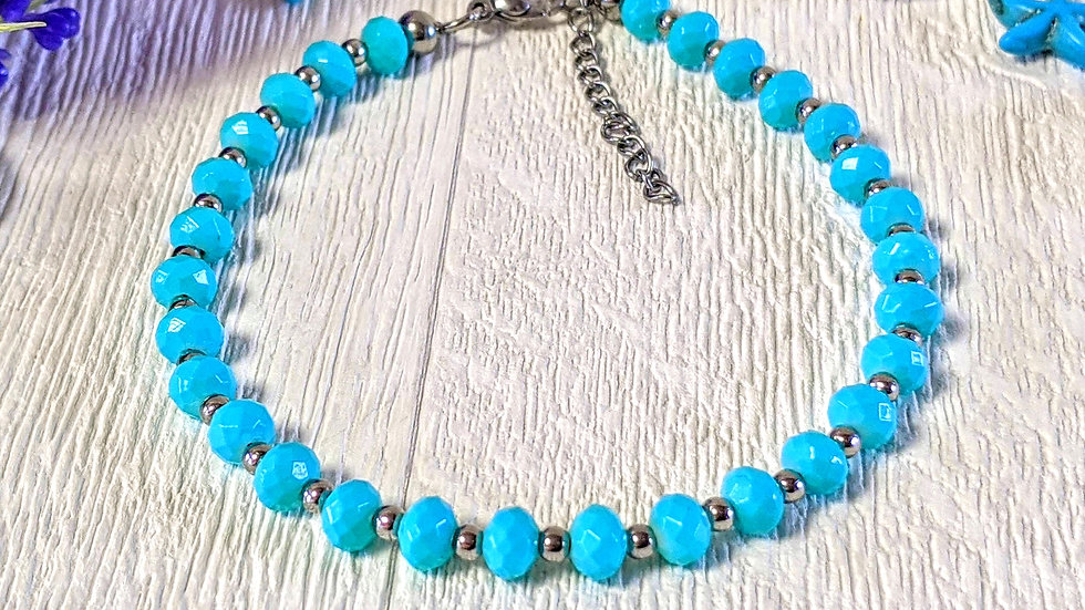 Turquoise beaded anklet with stainless steel beads