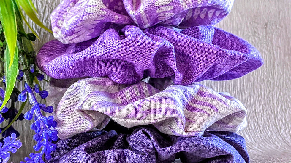 Set of 4 handmade lilac patterned cotton hair scrunchies.