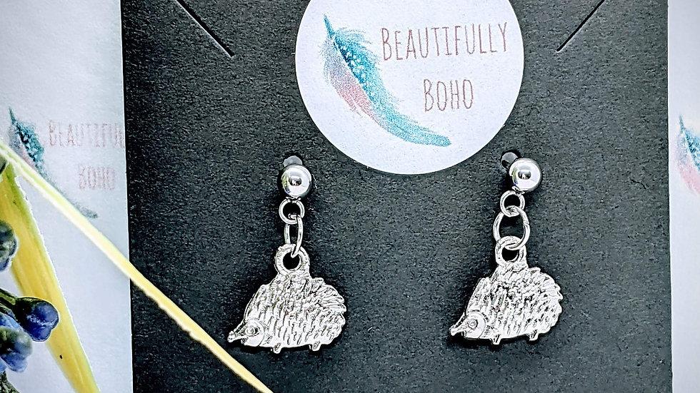 Pretty Tibetan Style Silver hedgehog drop earrings