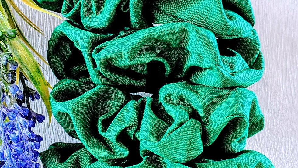 Set of 4 handmade Back to School green cotton hair scrunchies