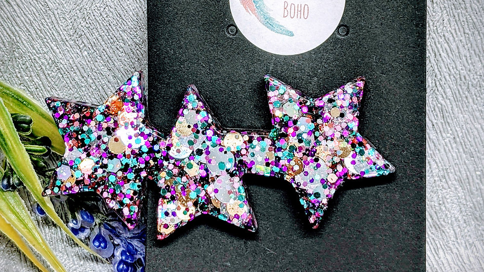 Limited Edition Purple Cosmos glitter resin star hair clip