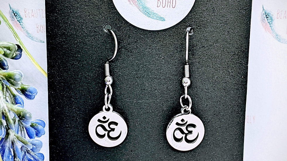Pretty stainless steel Ohm drop earrings