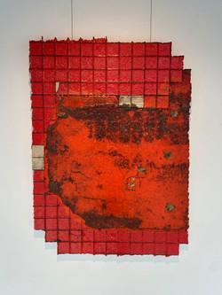 detritus - autoscape, 2021, fiberglass, resin, pigment and substrata 80 x 110 cm