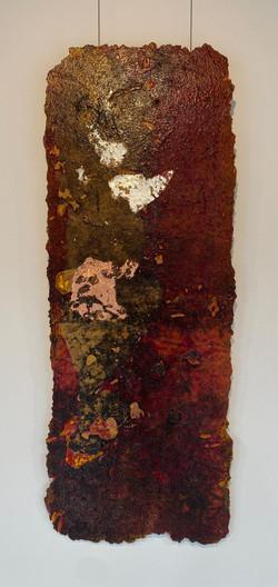 detritus - torn, 2021, fiberglass, resin, pigment and substrata 40 x 105 cm