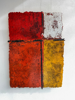 detritus - abstraction, 2021, fiberglass, resin, pigment and substrata 80 x 110 cm
