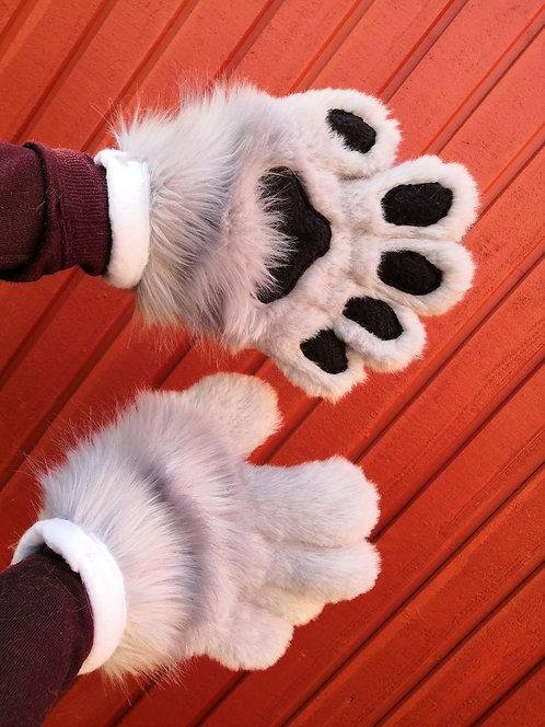 Grey fursuit paws