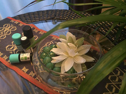 Aroma oils & a water lily