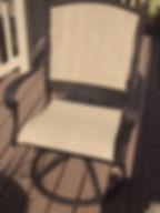 Swivel patio chair sandblasted, powder coated, new slings. Fresco fabric. Dark Roast powder coat finish