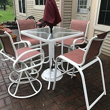 Patio furniture bar chairs with new custom slings