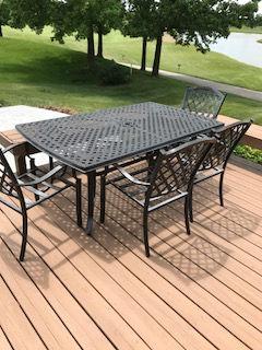 Cast aluminum patio furniture refinished in Semi Gloss Black powder coat