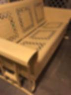 Mid century sofa glider sandblasted and powder coated yelow