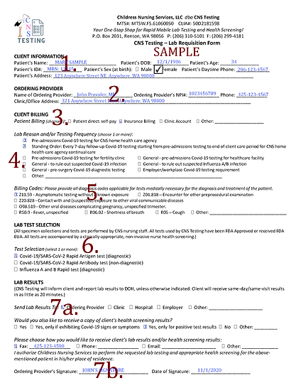 CNS Testing – Lab Requisition Form - SAM