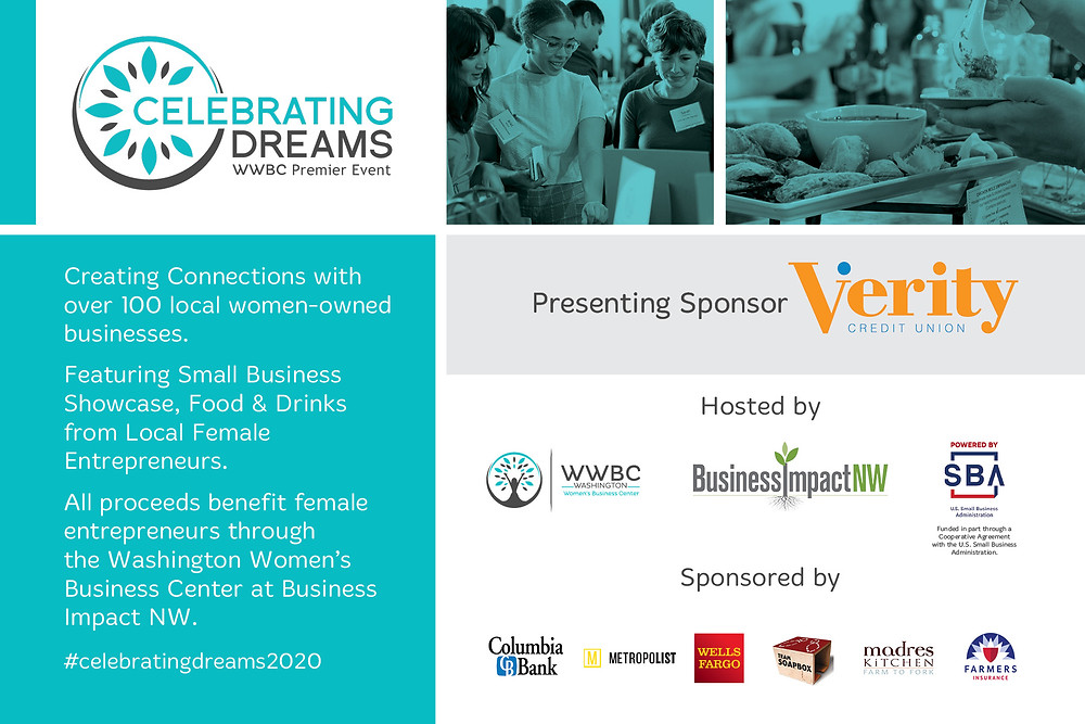 Childress Nursing Services celebrating dreams 2020 showcase sponsored by Columbia Bank, Metropolist, Wells Fargo, Team Soapbox, Madres Kitchen, and Farmers Insurance