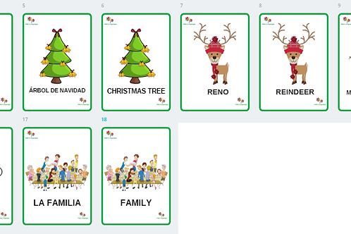 Xmas Flashcards - Spanish and English
