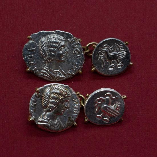 Female Empress Denarius Cufflinks in 18ct Gold