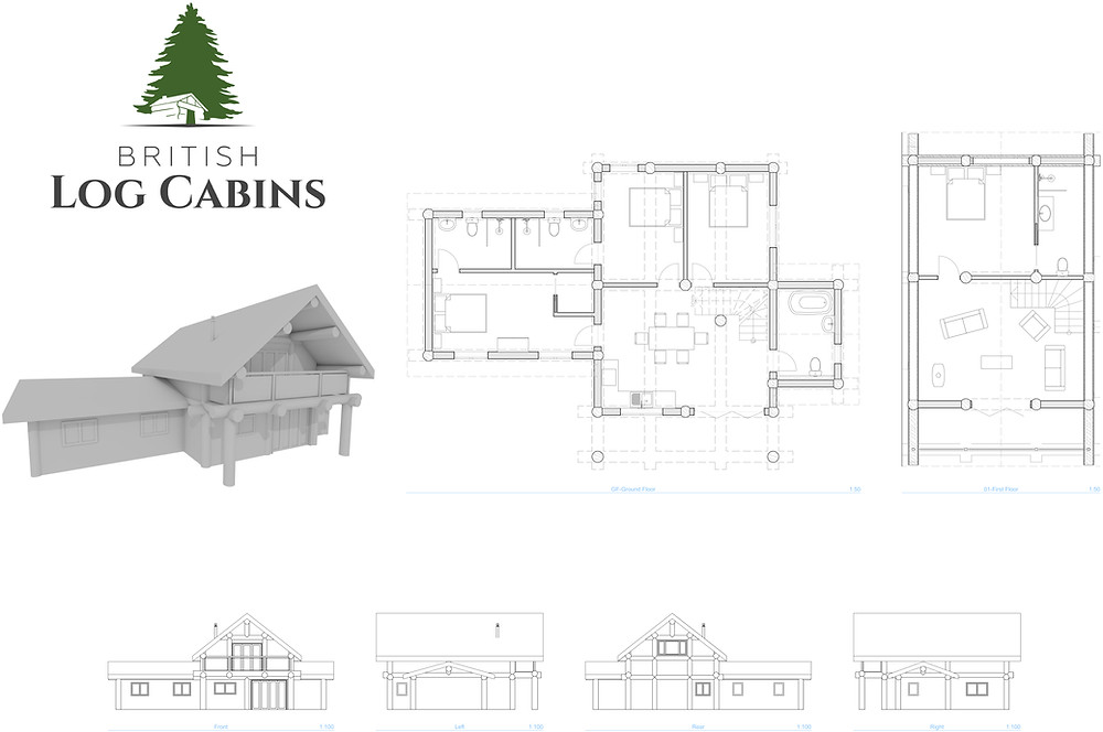 Technical drawings of a log cabin