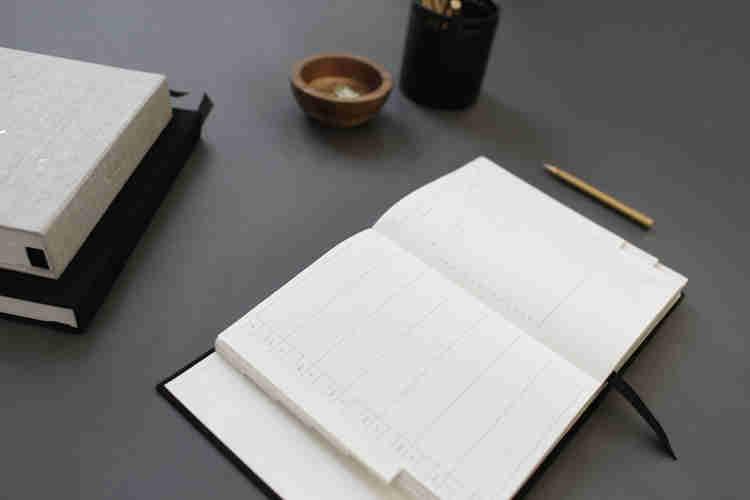 A notebook on a desk
