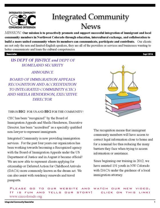 September 2016 Newsletter
